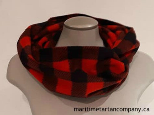 Red and Black Check 5 Foot Fleece Infinity Scarf