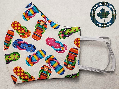 Flip Flop Print Face Mask - ALLOW UP TO 10 BUSINESS DAYS FOR SHIPPING