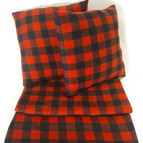 Red / Black Check Throw Pillow and Blanket Set