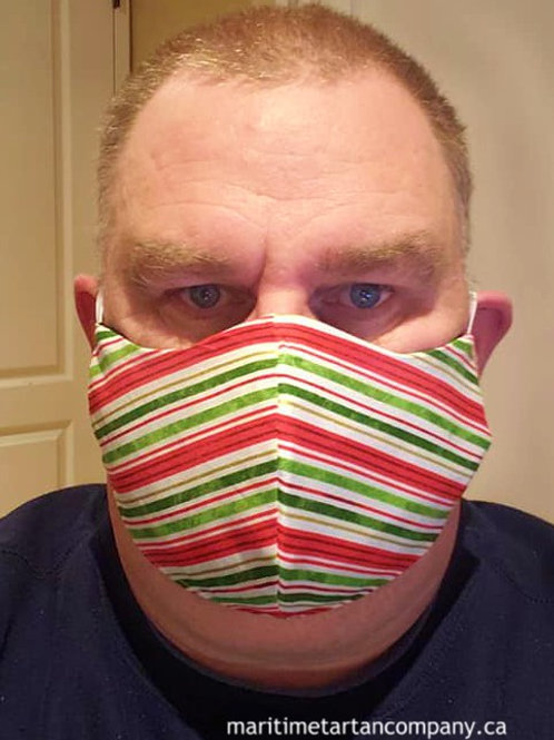 Candy Cane Print Face Mask - ALLOW UP TO 10 BUSINESS DAYS FOR SHIPPING