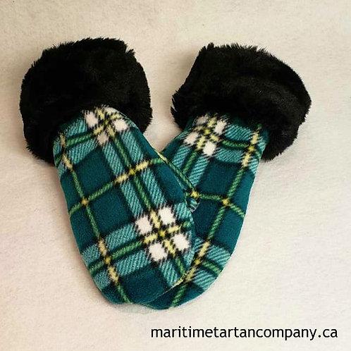 Cape Breton Tartan Fleece Mittens - Faux Fur Trim