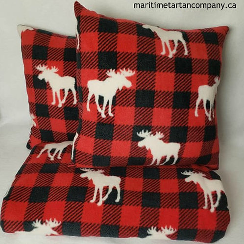 Red and Black Check with moose print Pillow and Throw Set