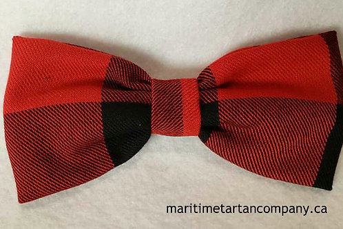 Red / Black Check Clip On Bow Tie (Adult)