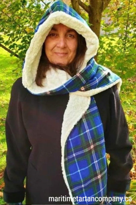 Nova Scotia Tartan Hooded Scarf with sewn in Chenille