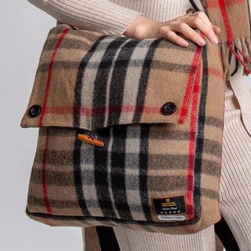Thompson Camel Tartan Merino Wool Keri Messenger Bag
