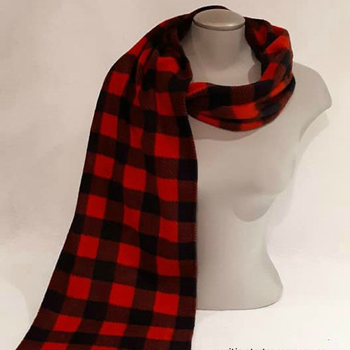 Red and Black Check  6 Foot Fleece Scarf