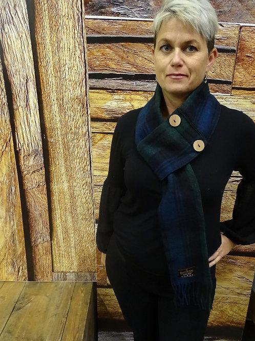 Black Watch Wool Button Scarf
