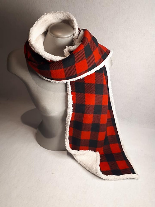 Red and Black Check 6 Foot Scarf Bonded With Chenille