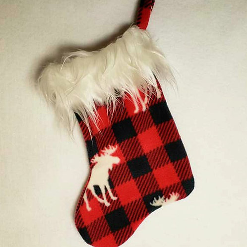 Red and Black Check with Moose Christmas Sock