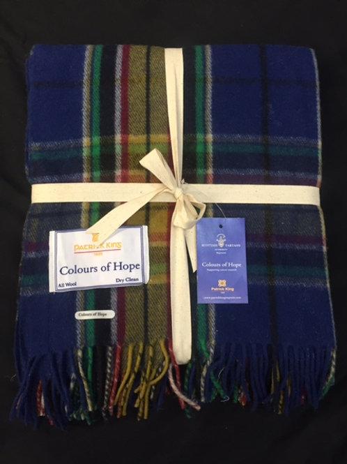 Colors of Hope Tartan Deluxe Merino Wool Blanket