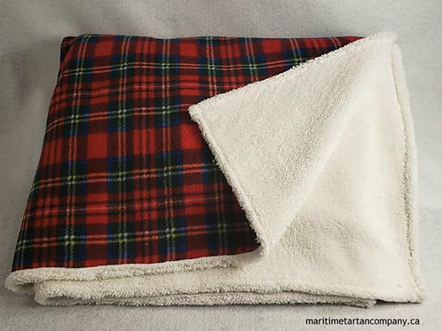 Royal Stewart Fleece Throw Bonded With Chenille