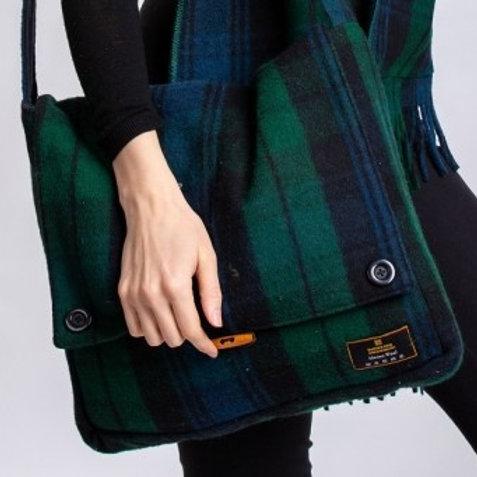 Black Watch Tartan Merino Wool Keri Messenger Bag