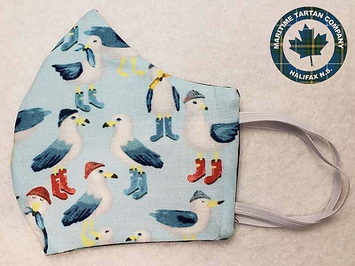 Seagull in Boots Print Face Mask - ALLOW UP TO 10 BUSINESS DAYS FOR SHIPPING