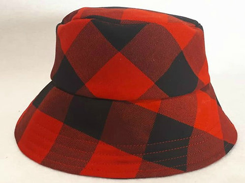 Red . Black Check Bucket Hat