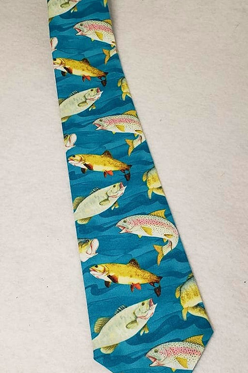 Trout Print Tie