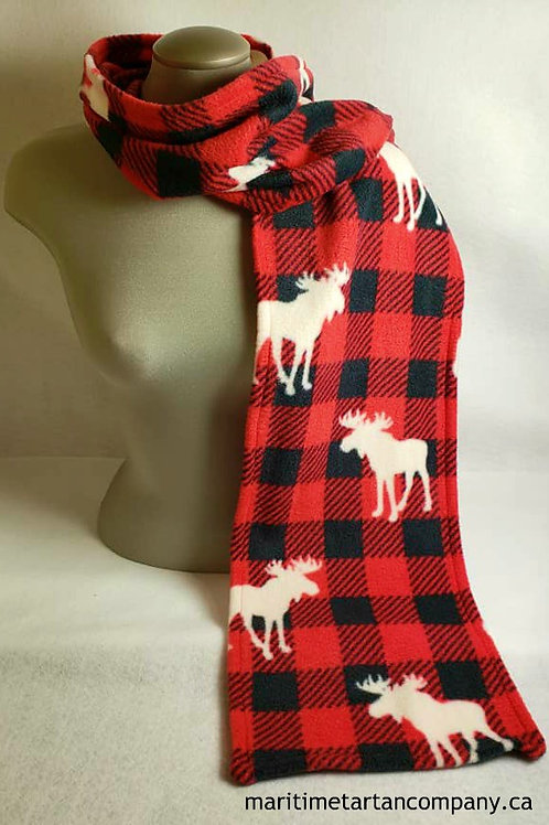 Fleece 6 Foot Moose Print Scarf