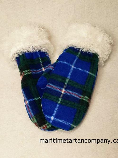 Nova Scotia Tartan Fleece Mittens - Faux Fur Trim