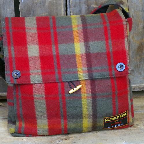 Dark Maple Tartan Merino Wool Keri Messenger Bag