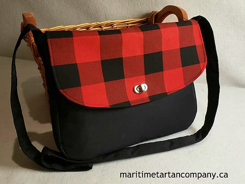Red and Black Check Messenger Bag