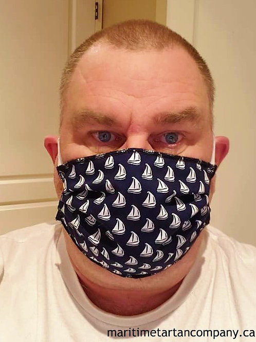 Sailboat Print Face Mask - ALLOW UP TO 10 BUSINESS DAYS FOR SHIPPING