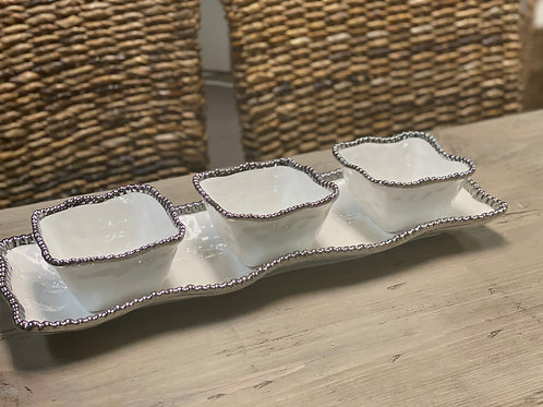 White Serving Tray with 3 Bowls