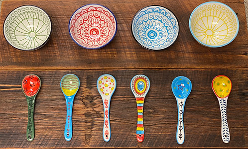 Ceramic Bowls and Spoons Set