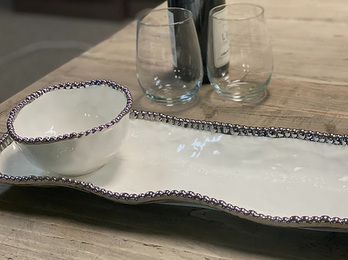 White Serving Tray and Bowl Set