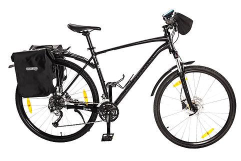 Bicicleta hibrida com bolsa de guiador e