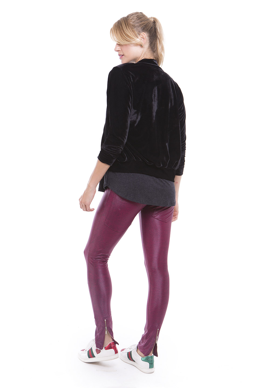 Jaqueta Velvet e Legging Ziper Bolso