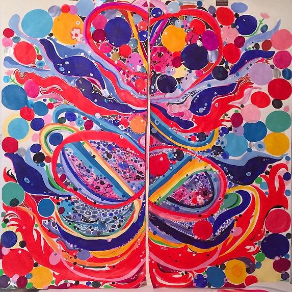 NIna Bovasso, Flame Diptych, acrylic on