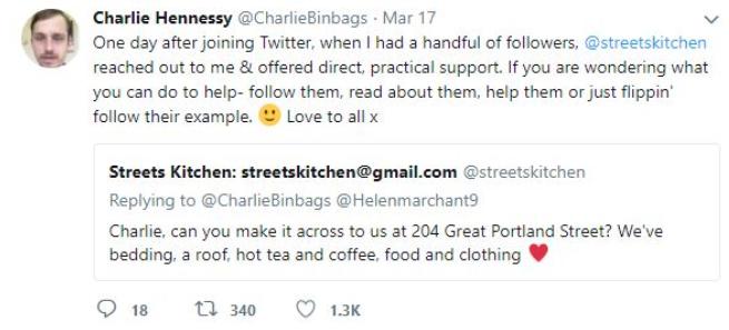 Charlie's tweet about Streets Kitchen