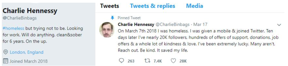 Charlie Hennessy's Twitter bio