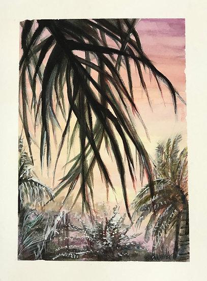 Sunset Under a Palm Tree - Ursula Baker