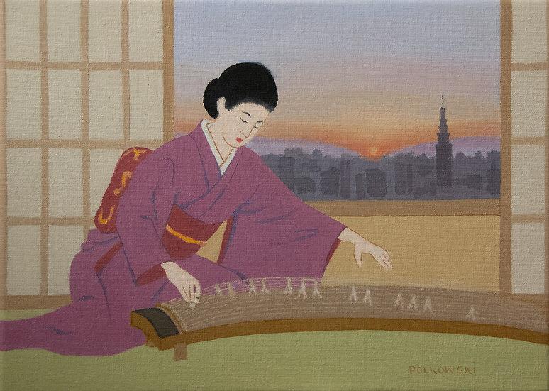 Playing the Koto During Tokyo Sunset - Jane Polkowski