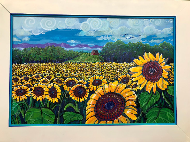 Sunflowers, Red Barn - Jay Winter Collins