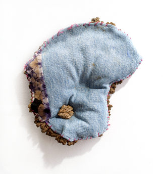 fabric, thread, dirt, glue, rock, acorn