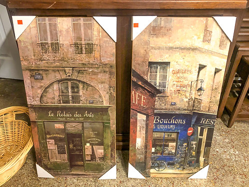 French Decor Wrapped Canvases