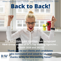 BACK TO BACK: NLJ NAMED R&W GROUP A TOP DC STAFFING AGENCY IN 2020 & 2021!