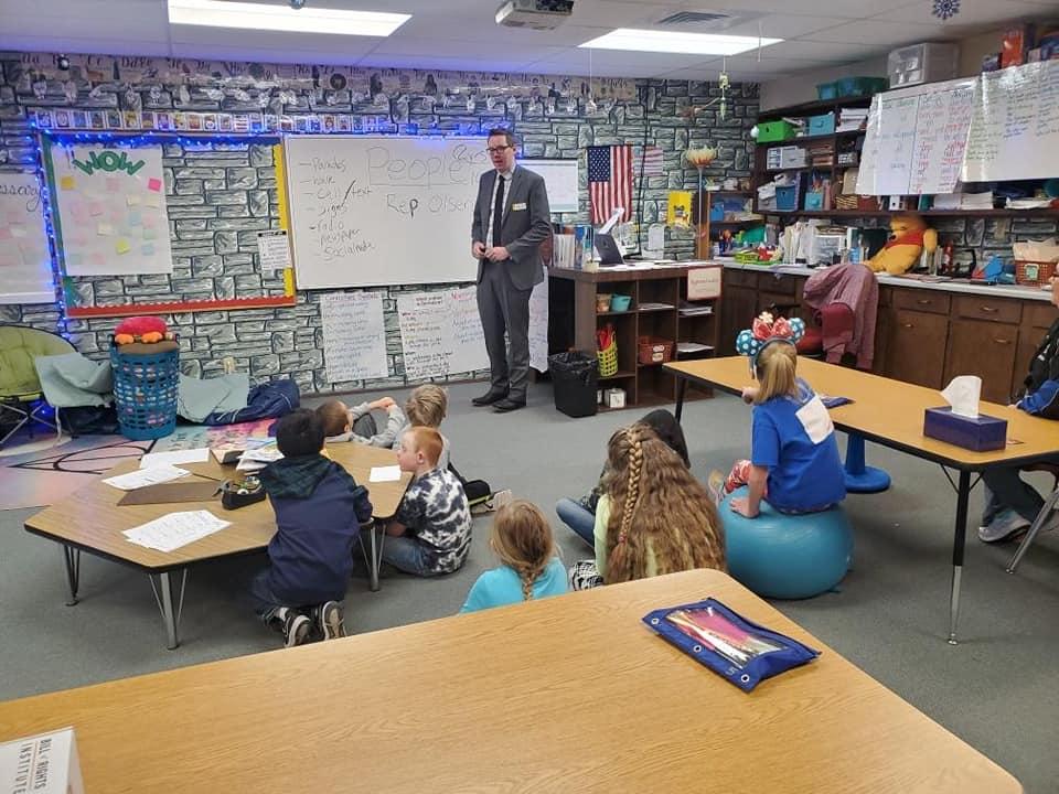 Rep Olsen Teaching 3rd Gradners