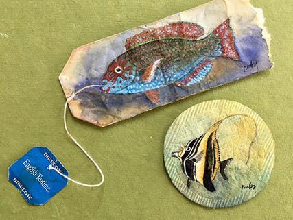 Pintura en bolsas de té: Ruby Silvious.