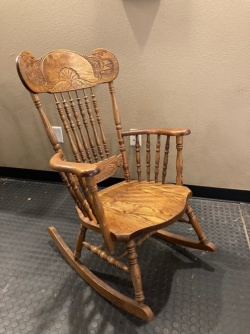 Modern Victorian oak pressed back rocker