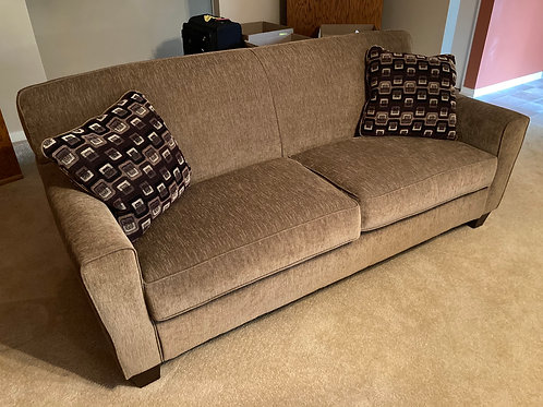 Near new sofa and matching chairs with ottomans