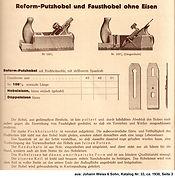 Reformhobel, Weiss & Sohn, Katalog Nr. 33
