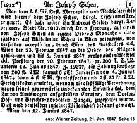 Josef Scheu Wechselschuld 1847
