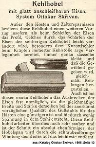 Skrivan Patentkehlhobel Preiscourant 1906