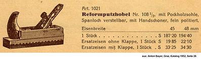 Reformhobel Weiss & Sohn, Katalog Anton Bayer, Graz, 1952