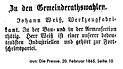 J. B. Weiß Kandidat Gemeinderat 1865