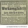 Weiß & Sohn Anzeige Neuigkeits Welt Blatt 1876