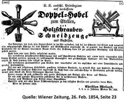 Weiland Anzeige Wiener Zeitung 1854