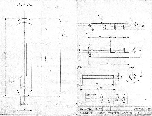 Schropphobeleisen lang Originalzeichnung 1950